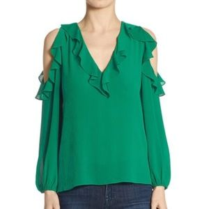 Alice + Olivia Gia Ruffled Cold-Shoulder Blouse